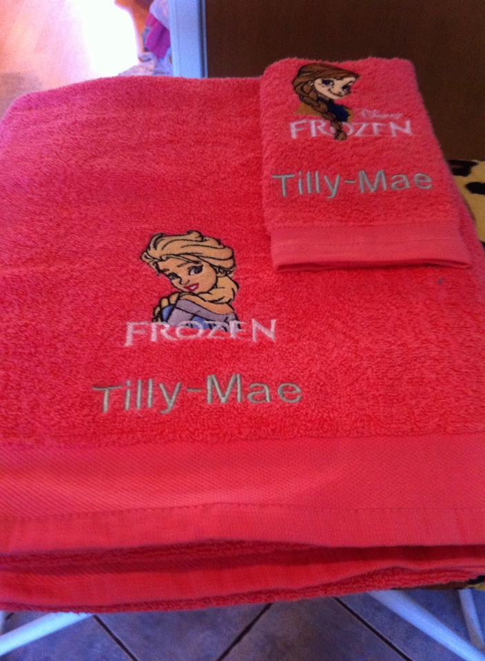 Frozen embroidered sisters on towels