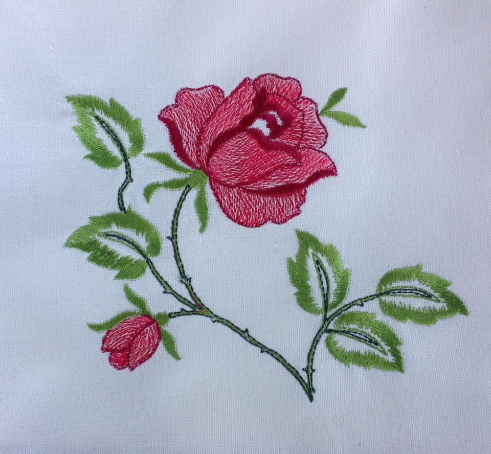 Roses design embroidered