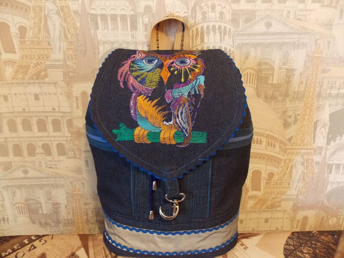 Owl embroidered on jeans bag
