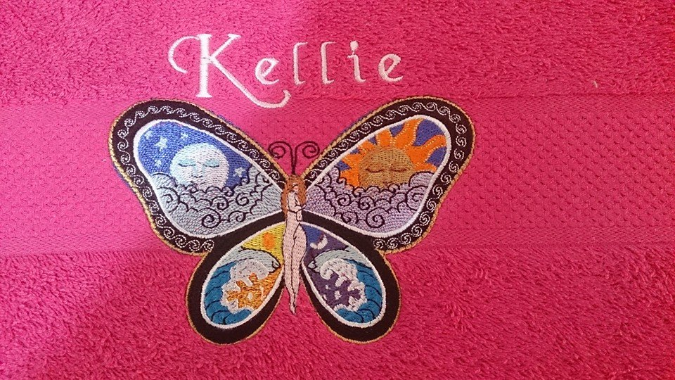 Butterfly day and night free embroidery design