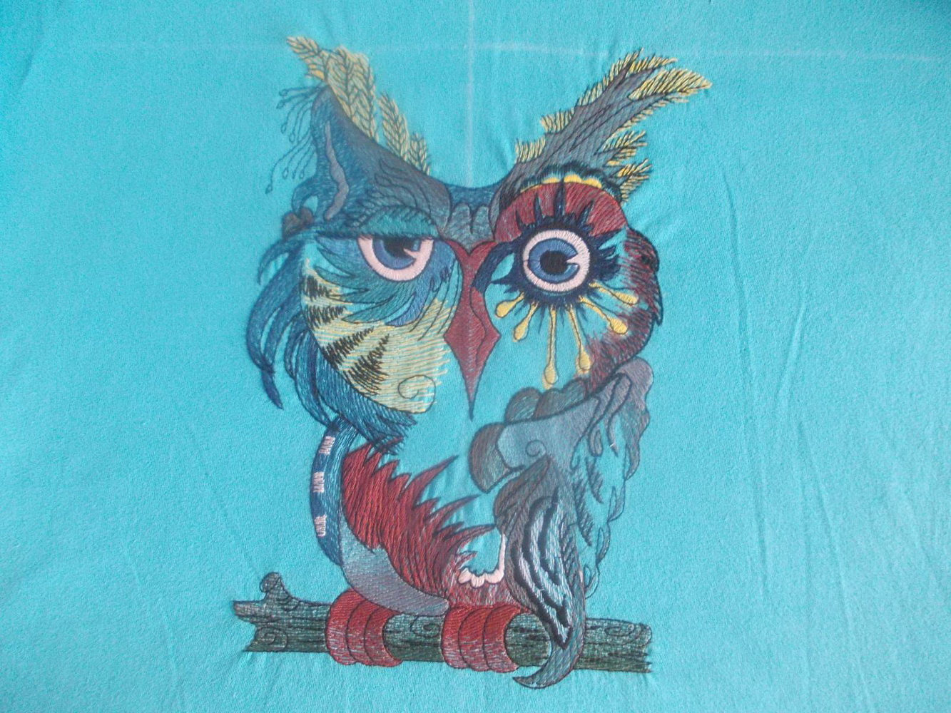 Owl in colors design embroidered