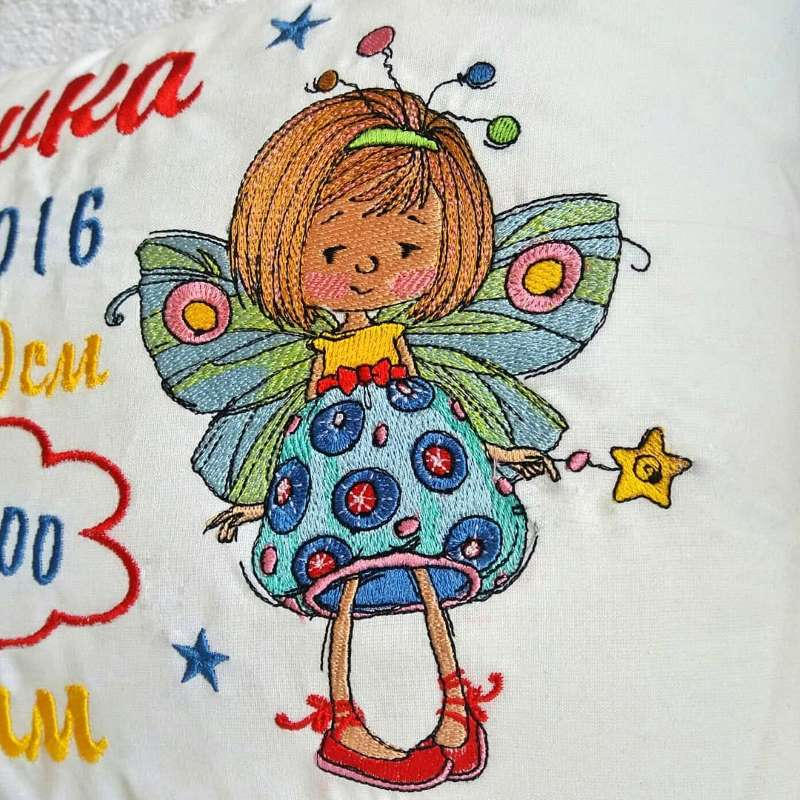 Cute dreaming fairy with Magic wand embroidery design