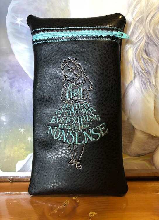 Leather mobile case with Alice in Wonderland embroidery design