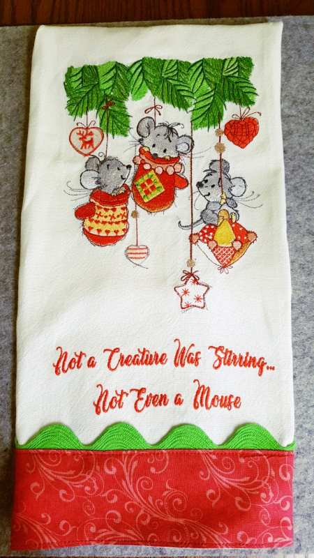 Embroidered Christmas towel with mice in mittens