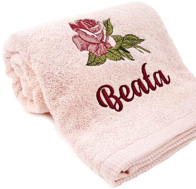 Towel with rose machine embroidery design