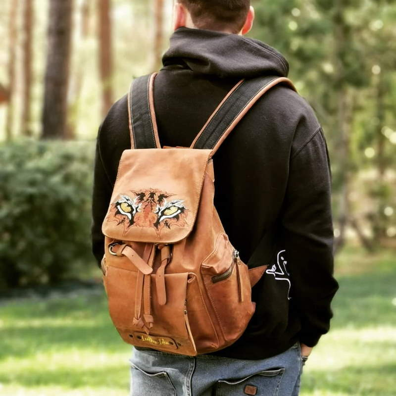Men's leather backpack with predator embroidery design