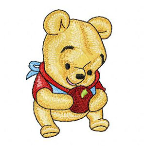 Baby Pooh with apple