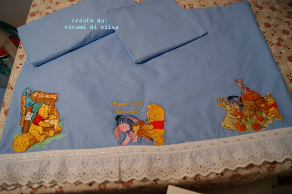 Winnie Pooh and friends designs embroidered