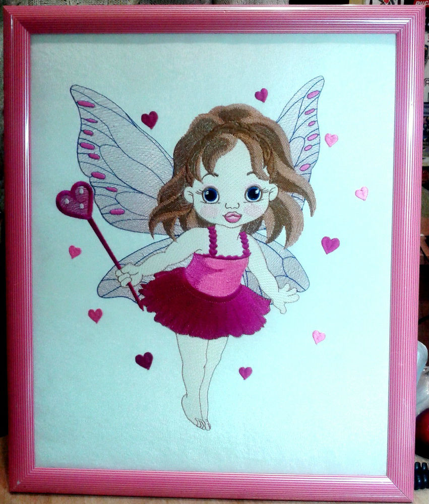 Baby love fairy design embroidered design