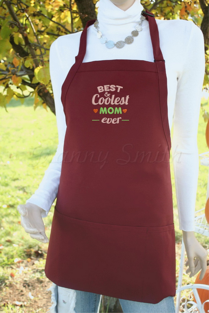 Best coolest mom ever embroidery design on apron