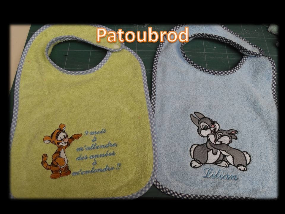 Disney rabbits and tiger embroidered on baby bibs