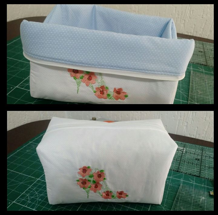 Cosmetic box with fashion shoes flower free embroidery design