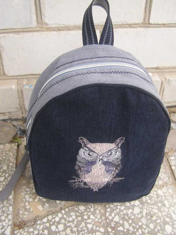Embroidered stylish backpack with owl design