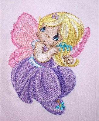 Cute little fairy embroidery design on baby apparel