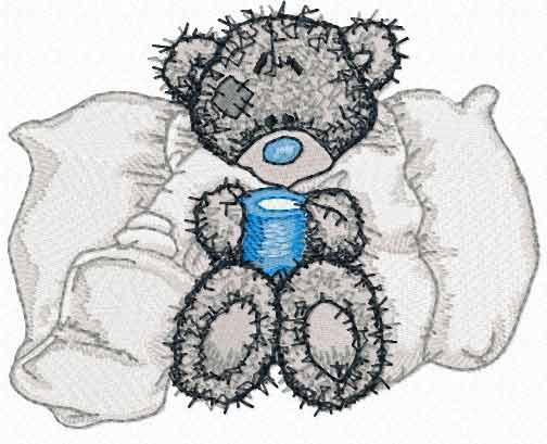 Teddy Bear is sick machine embroidery design