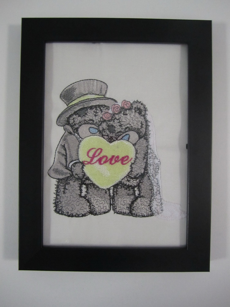 Blue nose bears embroidery design in frame
