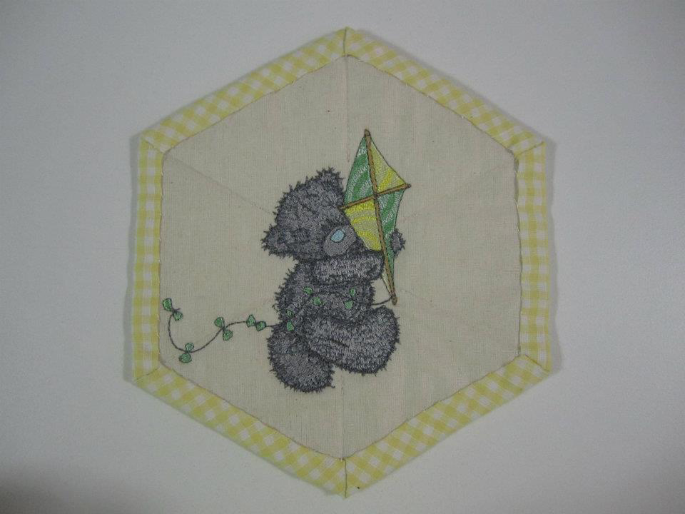 Teddy bear with kite design embroidered