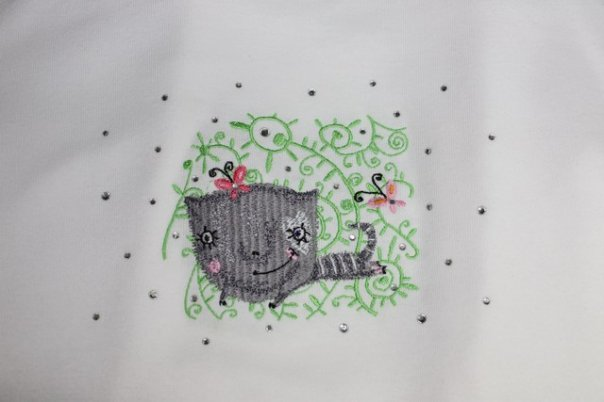 Flying cat design embroidered