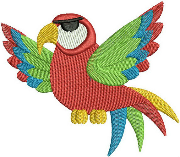 Parrot machine embroidery design