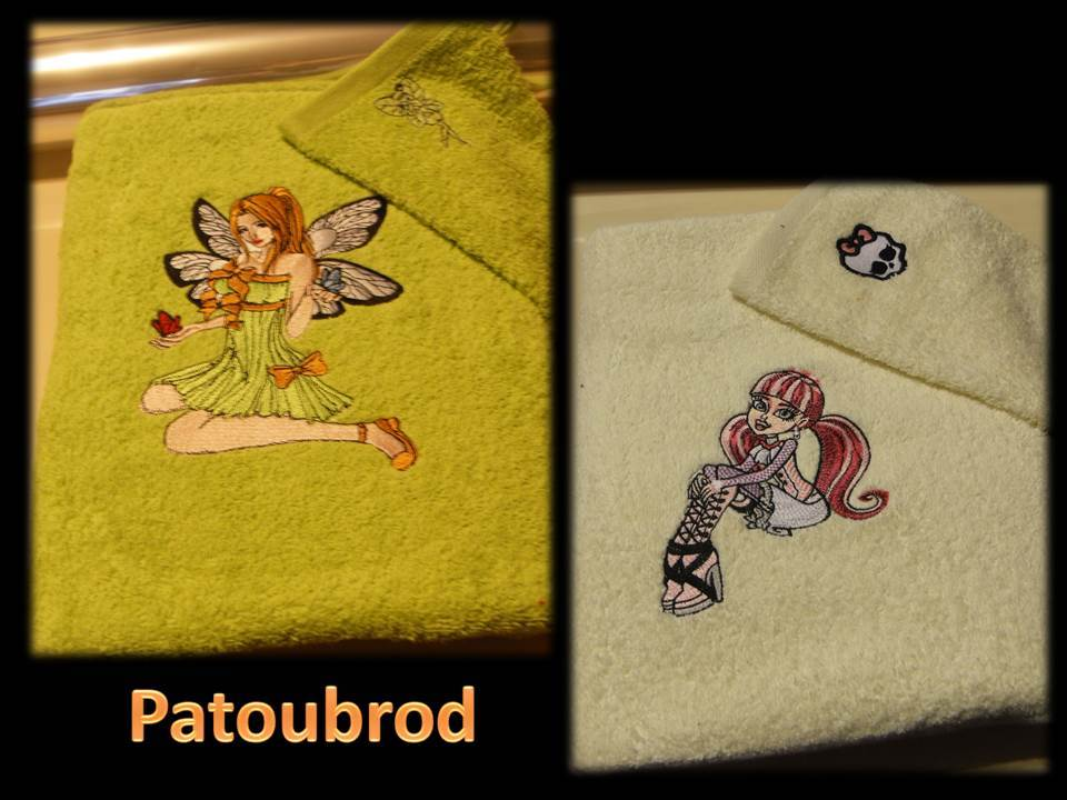 Embroidered designs for girls on bath towels