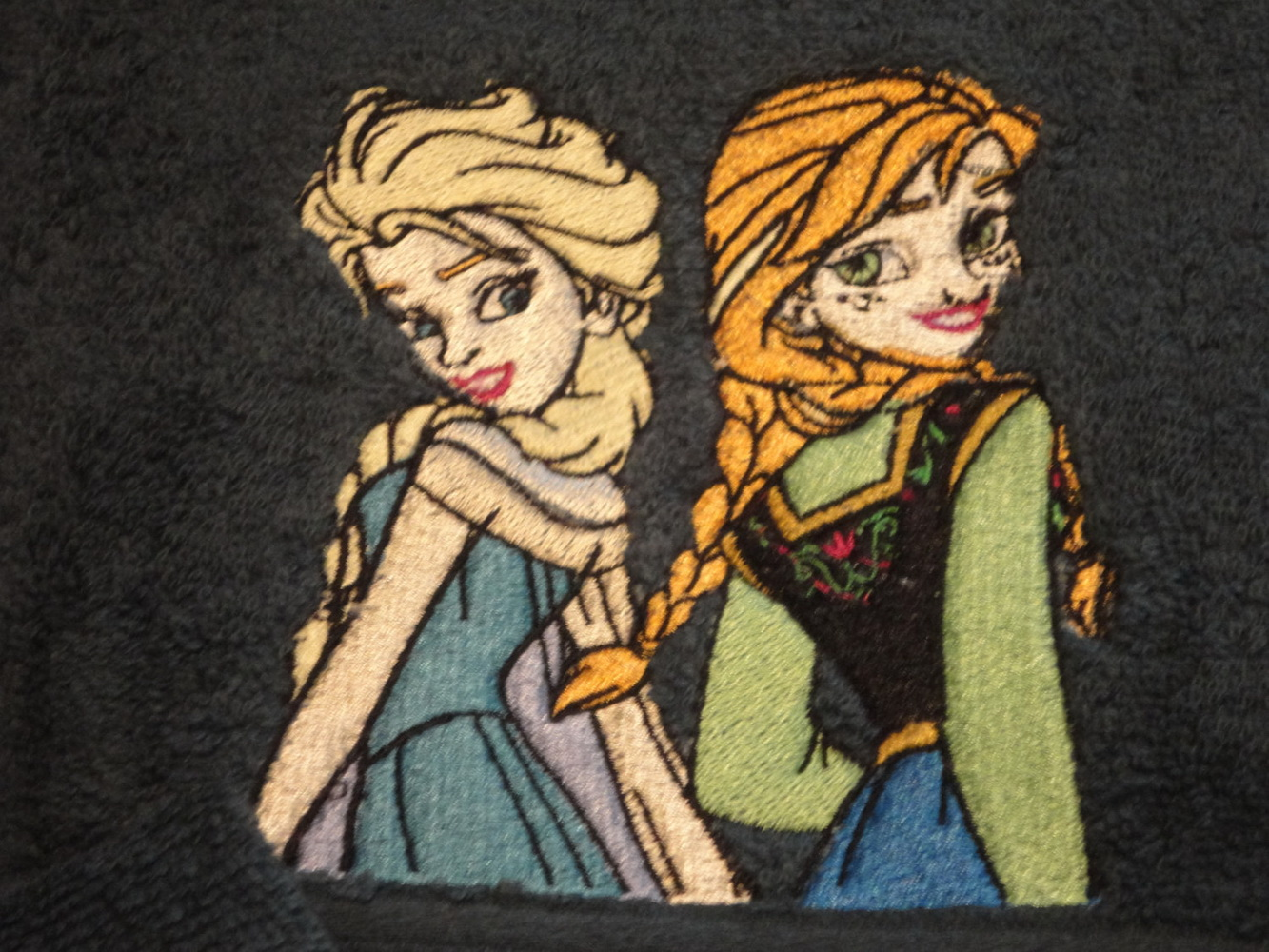 Frozen sisters design on towel embroidered
