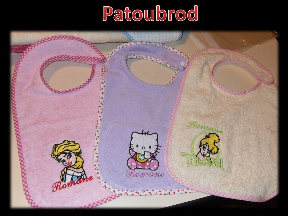 Elsa, Hello Kitty and Tinkerbell embroidered on bibs