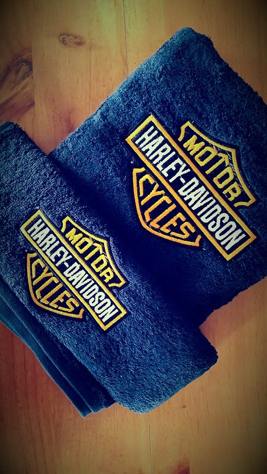 Towel with harley davidson logo embroidery design