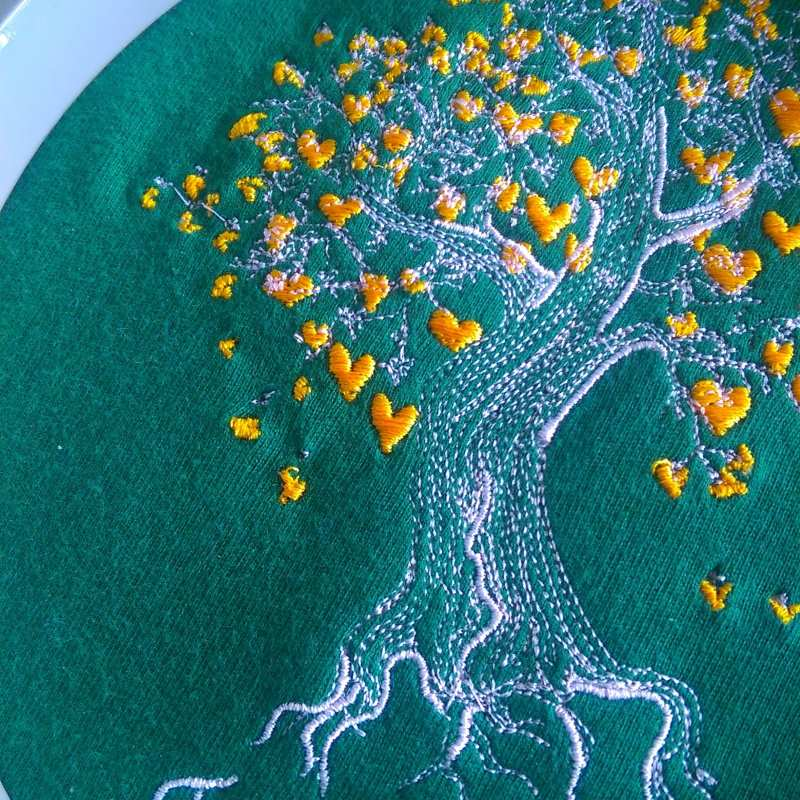 In hoop tree of our love embroidery design process