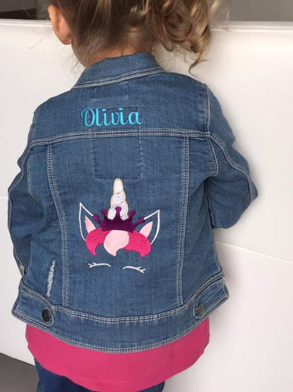 Girl's denim jacket with royal unicorn embroidery design