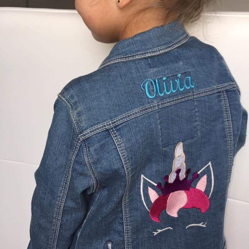 Embroidered denim jacket with royal unicorn design