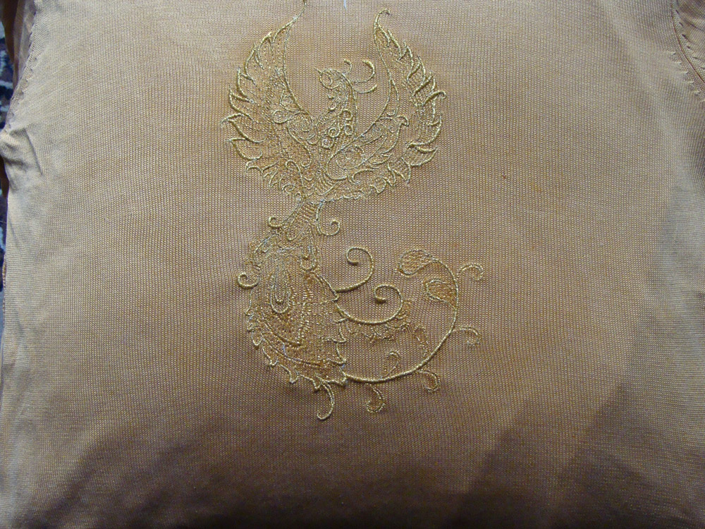 Cotton pillow with Fire bird embroidery