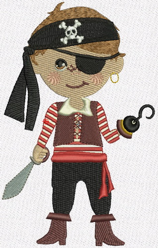 Pirate machine embroidery design