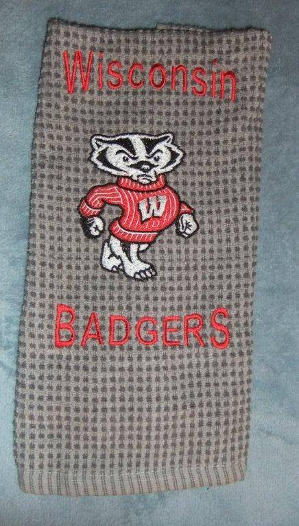 Bucky the Badger design on embroidered bath towel