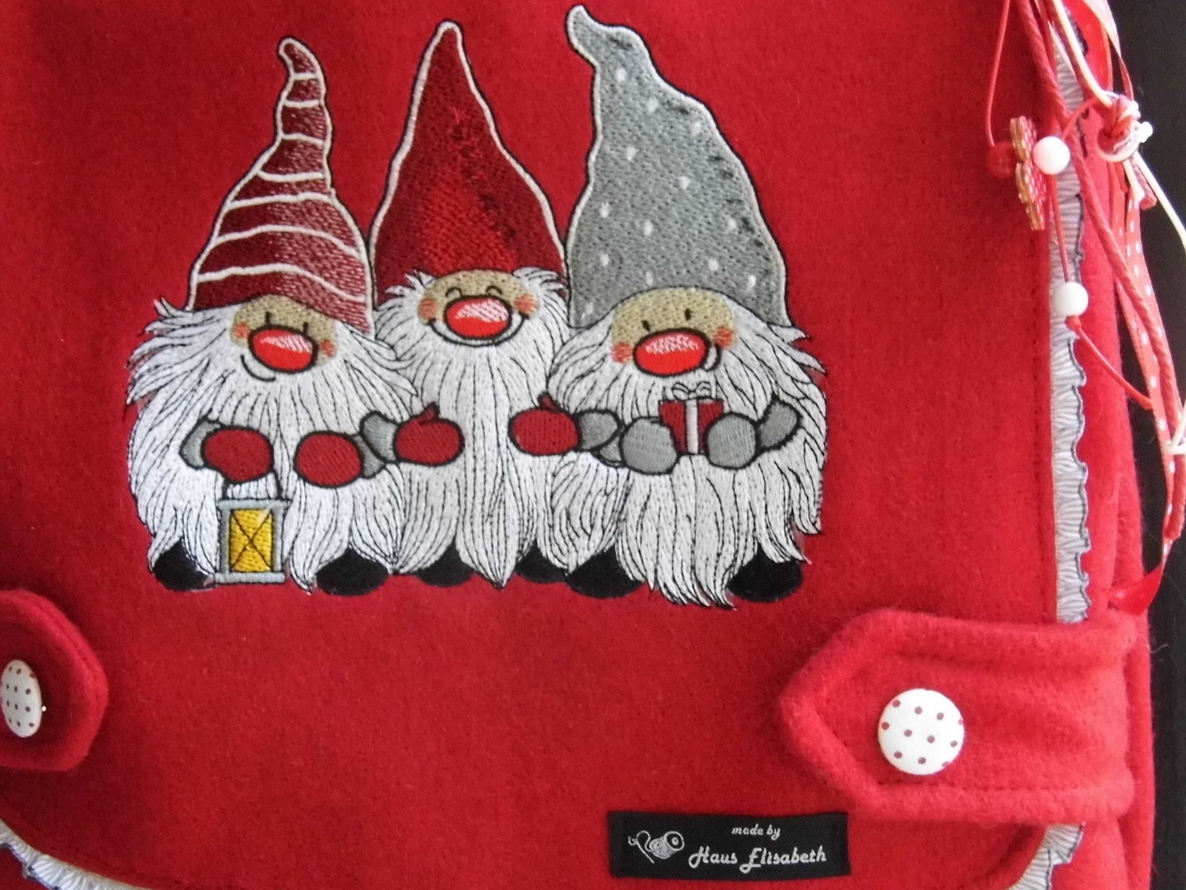 Dwarves embroidery design  on bag