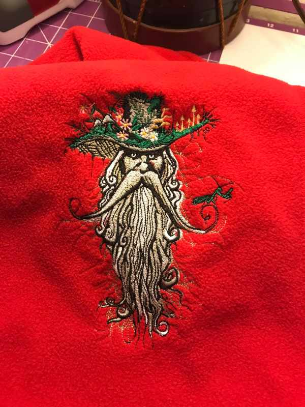 Scarf with Root man embroidery design