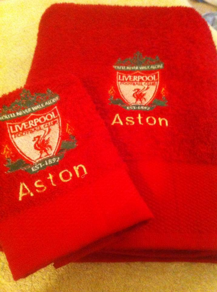 Liverpool football club logo embroidery design on towel