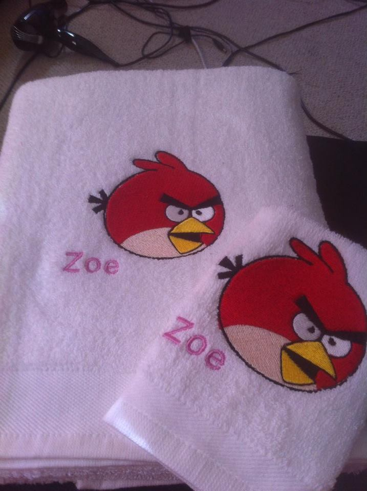 Embroidered Angry birds on towel
