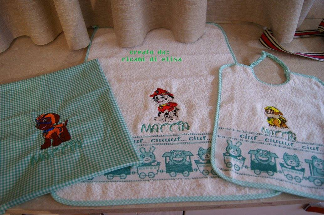 Paw Patrol designs embroidered on towel and bib