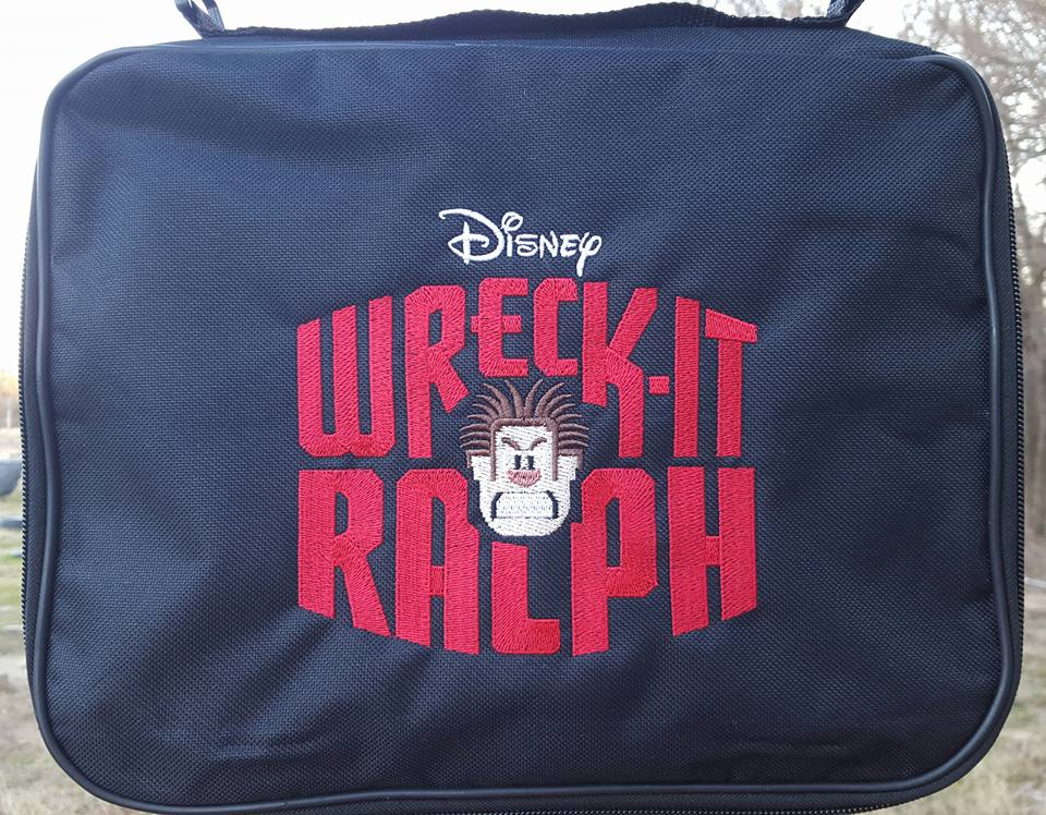 Black embroidered bag with Wreck-It Ralph logo