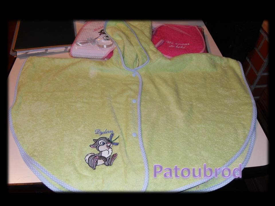 Thumper with dragonfly design on towel embroidered on bath poncho towel