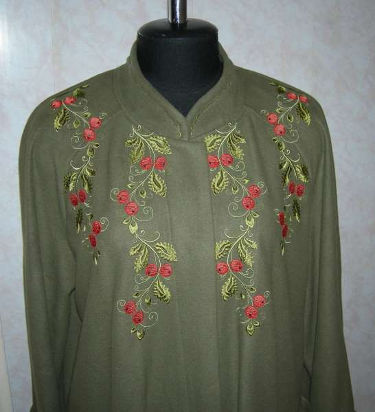 Brance with berries embroidered on shirt