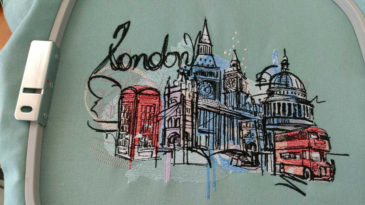 london city sketch embroidery