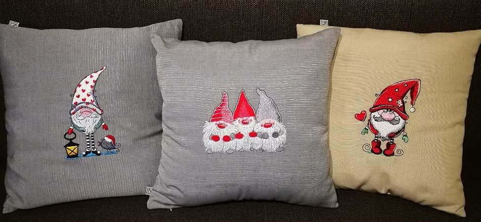 Cushions set with Dwarves embroidery designs