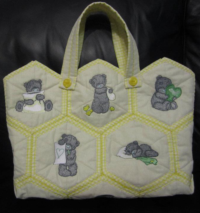 Embroidered nappy bag with tatty teddy bears
