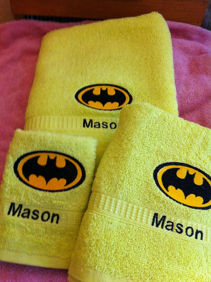 Batman logo design embroidered on towel