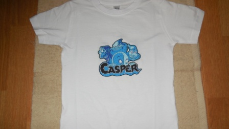 Casper and Ghostly Trio design on t-shirt embroidered
