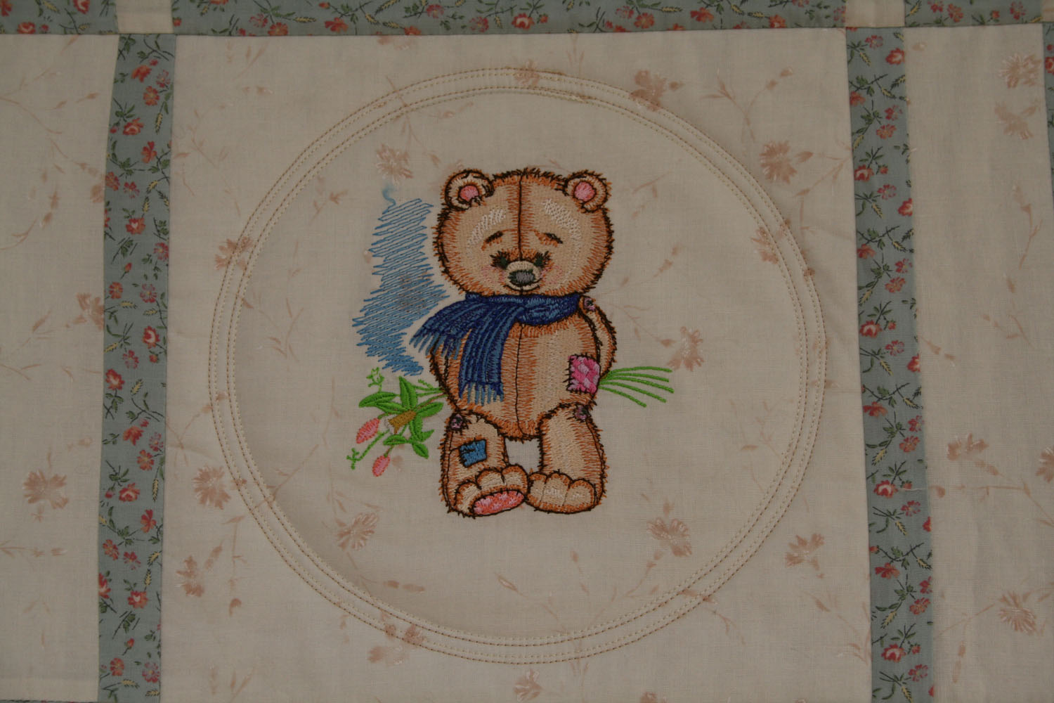 Teddy Bear with flowers embroidery design