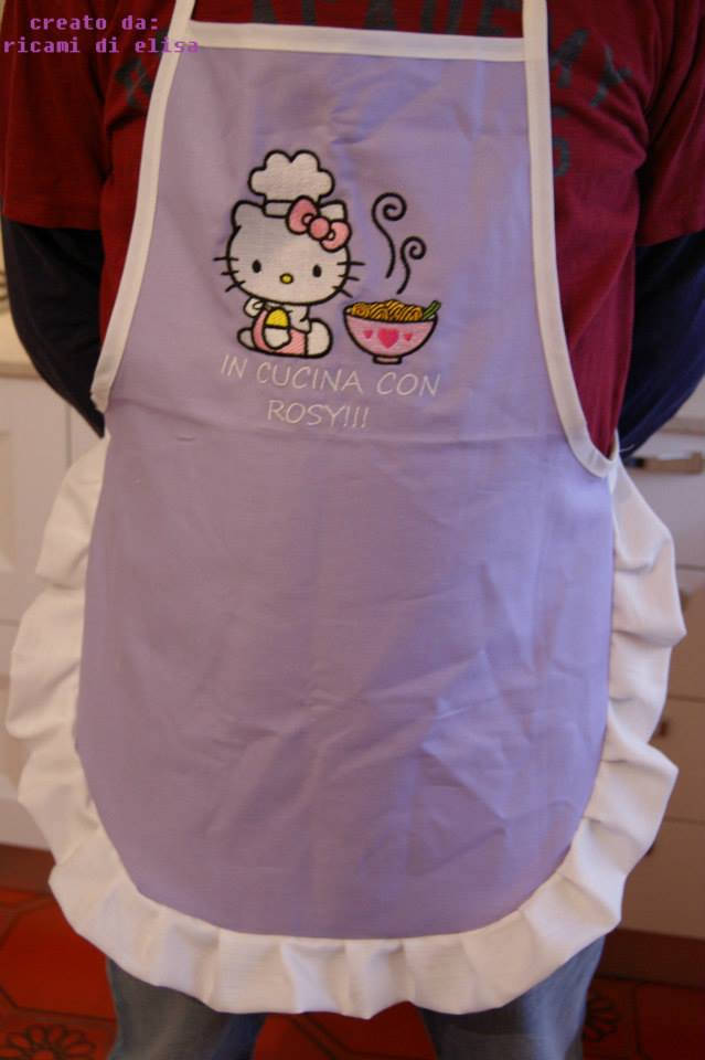 Hello Kitty loves Chinese food  design on embroidered purple apron