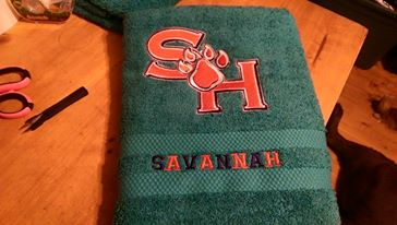 Sam Houston State University design on towel embroidered