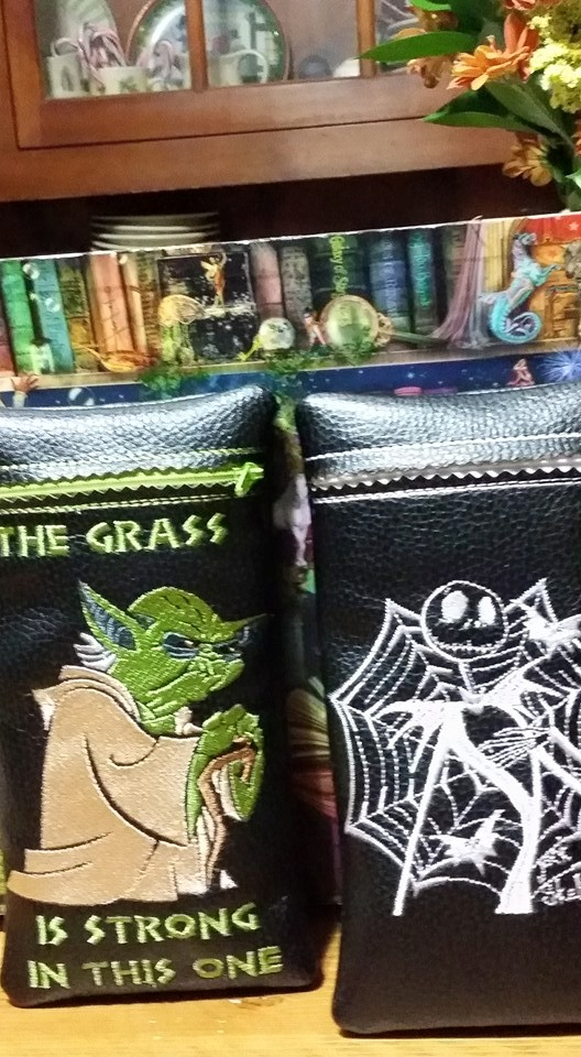 Jack Skellington and Yoda embroidered on small leather nags